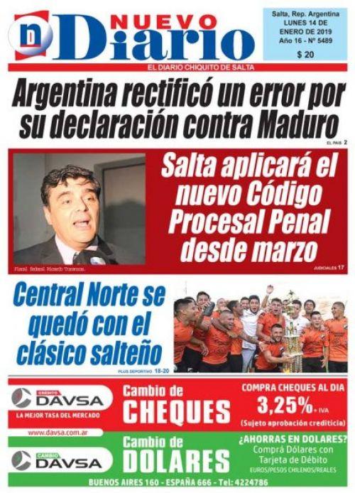 Tapa del 14/01/2019 Nuevo Diario de Salta