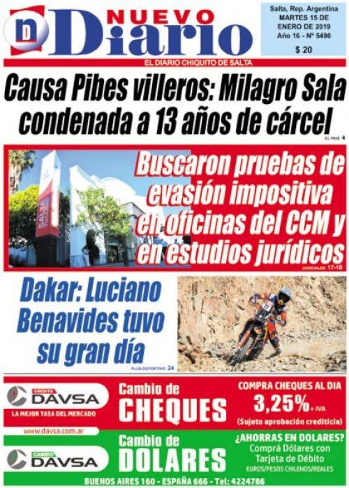 Tapa del 15/01/2019 Nuevo Diario de Salta