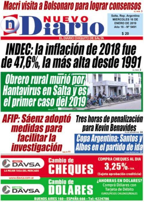 Tapa del 16/01/2019 Nuevo Diario de Salta