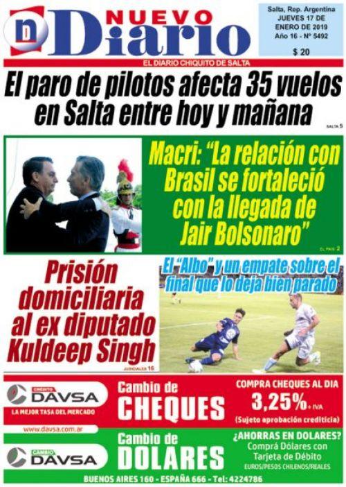 Tapa del 17/01/2019 Nuevo Diario de Salta