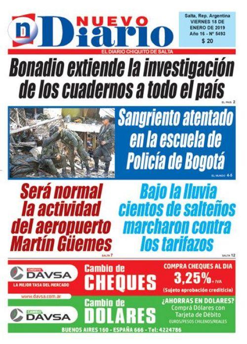 Tapa del 18/01/2019 Nuevo Diario de Salta
