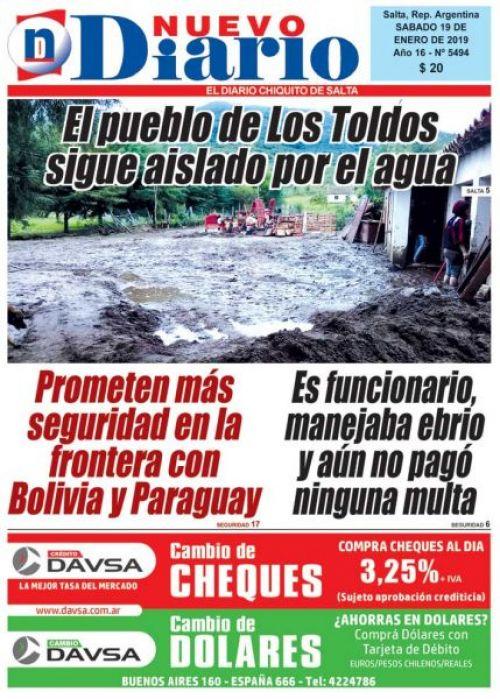 Tapa del 19/01/2019 Nuevo Diario de Salta