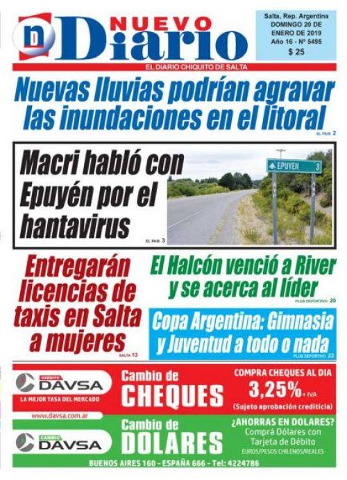 Tapa del 20/01/2019 Nuevo Diario de Salta