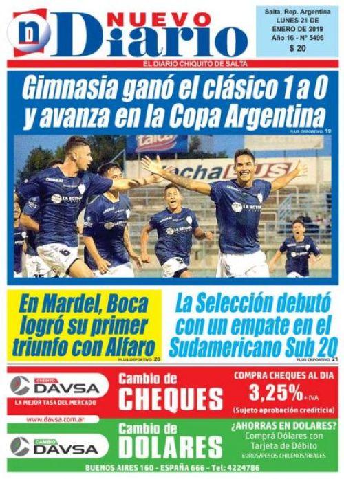 Tapa del 21/01/2019 Nuevo Diario de Salta