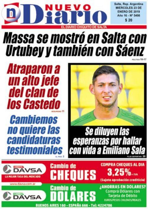 Tapa del 23/01/2019 Nuevo Diario de Salta