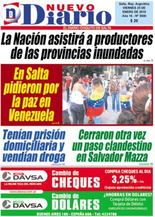 Tapa del 25/01/2019 Nuevo Diario de Salta