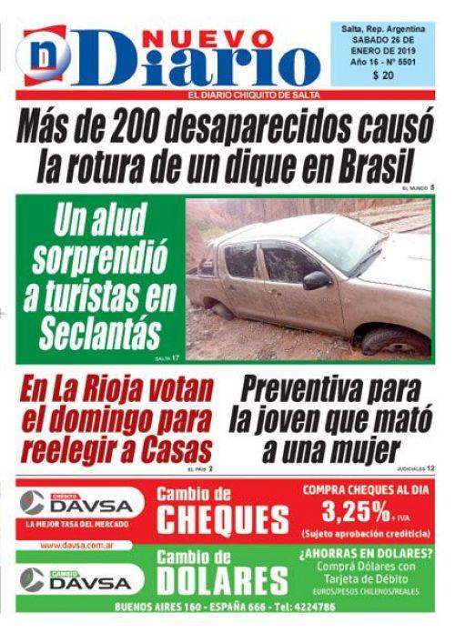 Tapa del 26/01/2019 Nuevo Diario de Salta