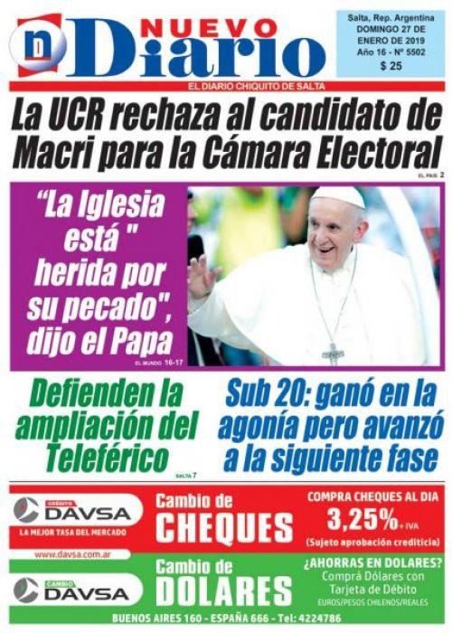 Tapa del 27/01/2019 Nuevo Diario de Salta