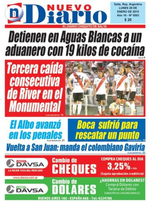 Tapa del 28/01/2019 Nuevo Diario de Salta