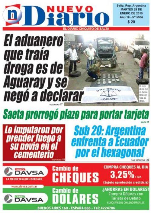 Tapa del 29/01/2019 Nuevo Diario de Salta