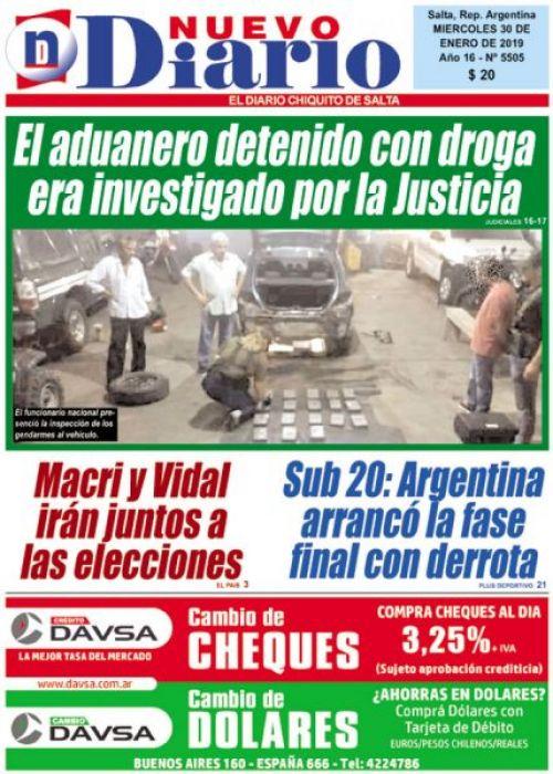 Tapa del 30/01/2019 Nuevo Diario de Salta