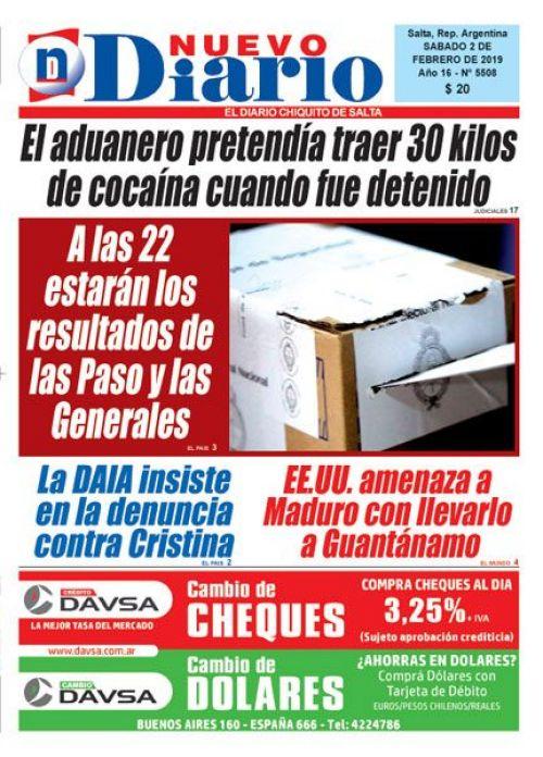 Tapa del 02/02/2019 Nuevo Diario de Salta
