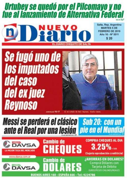 Tapa del 05/02/2019 Nuevo Diario de Salta