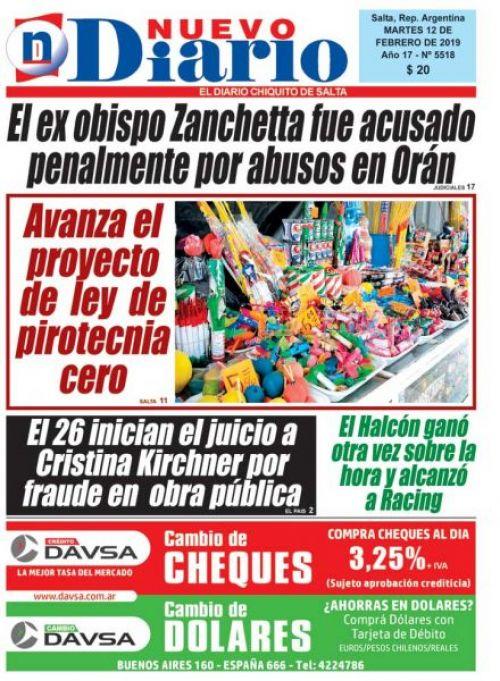 Tapa del 12/02/2019 Nuevo Diario de Salta
