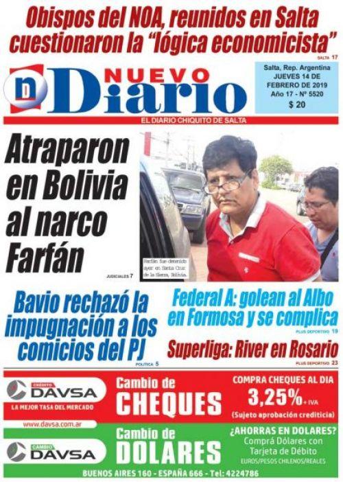Tapa del 14/02/2019 Nuevo Diario de Salta