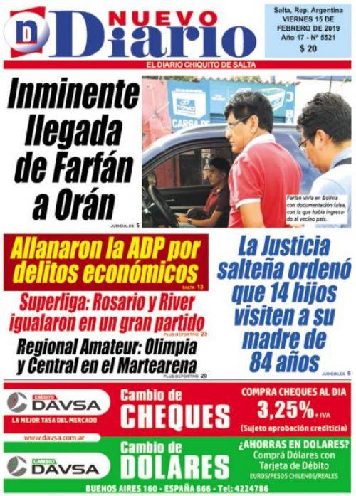 Tapa del 15/02/2019 Nuevo Diario de Salta