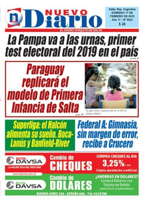 Tapa del 17/02/2019 Nuevo Diario de Salta