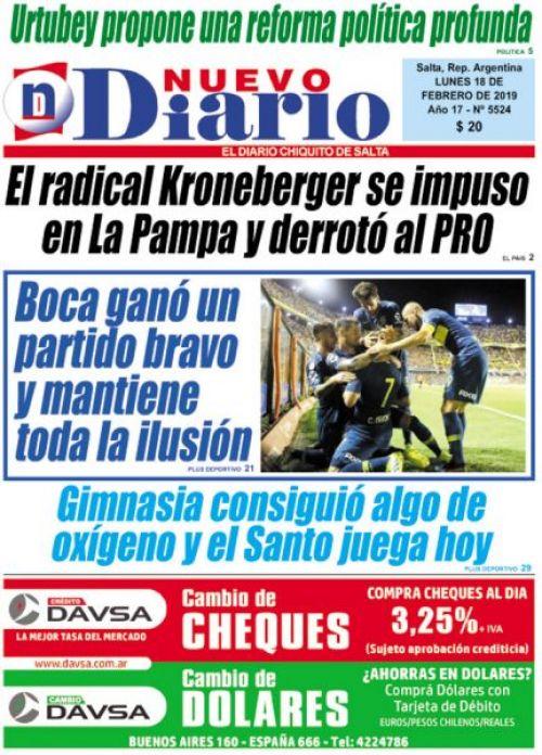 Tapa del 18/02/2019 Nuevo Diario de Salta