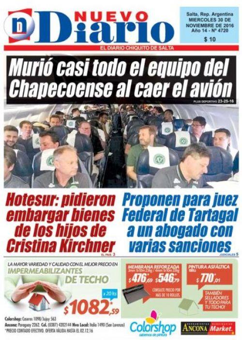Tapa del 30/11/2016 Nuevo Diario de Salta