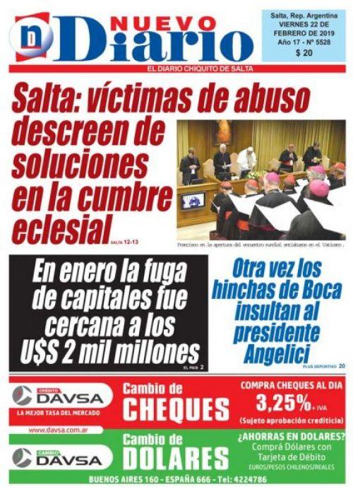 Tapa del 22/02/2019 Nuevo Diario de Salta