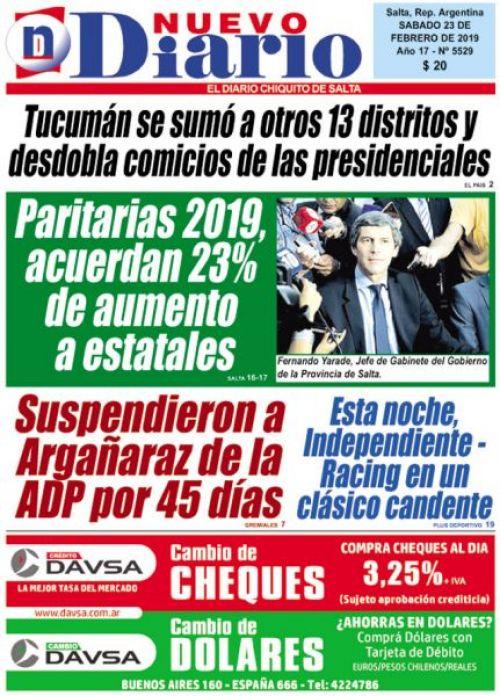 Tapa del 23/02/2019 Nuevo Diario de Salta