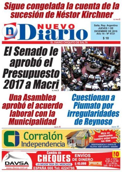 Tapa del 01/12/2016 Nuevo Diario de Salta