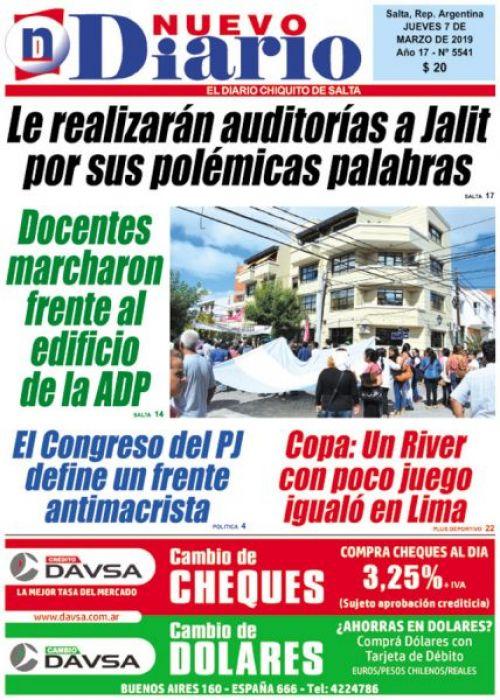 Tapa del 07/03/2019 Nuevo Diario de Salta
