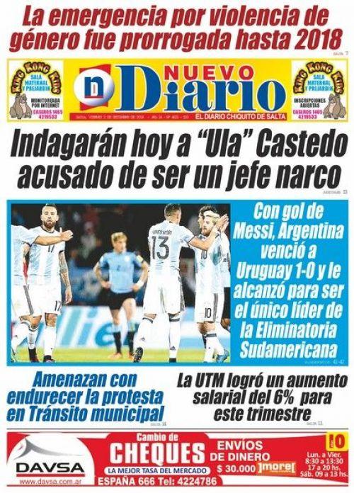 Tapa del 01/09/2016 Nuevo Diario de Salta