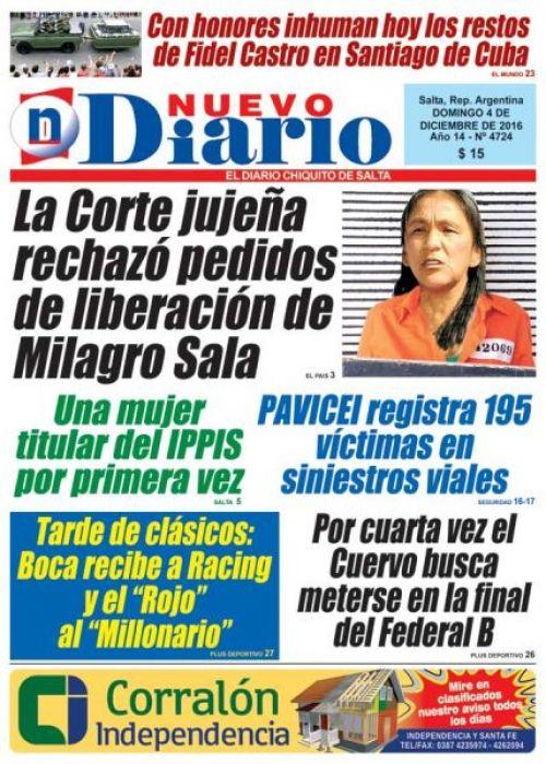 Tapa del 04/12/2016 Nuevo Diario de Salta