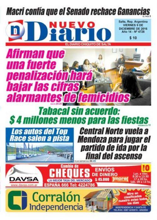Tapa del 09/12/2016 Nuevo Diario de Salta
