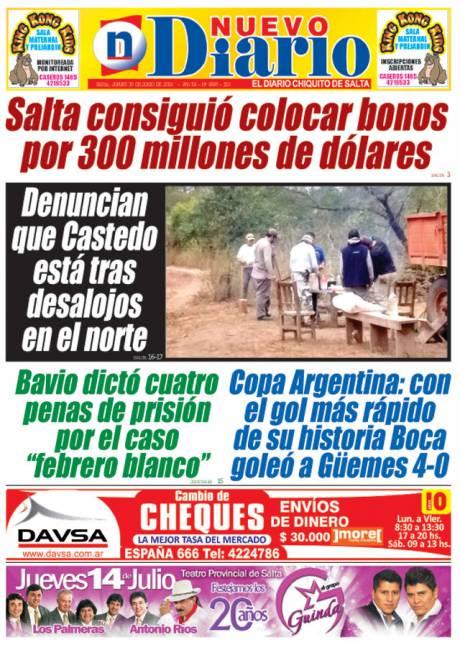 Tapa del 30/06/2016 Nuevo Diario de Salta